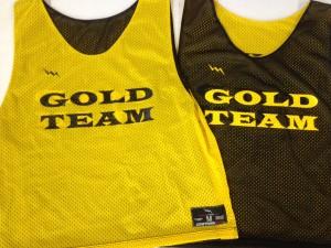 gold team pinnies